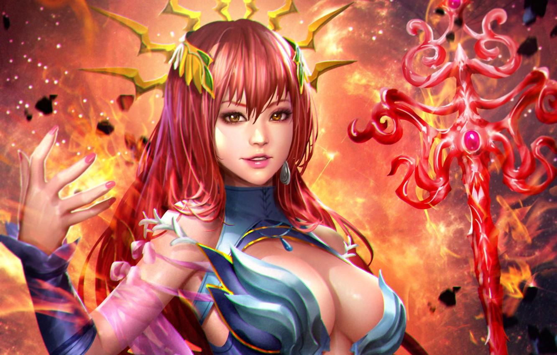 Photo wallpaper chest, look, girl, magic, beauty, anime, art, costume, staff, red, Lana Solaris