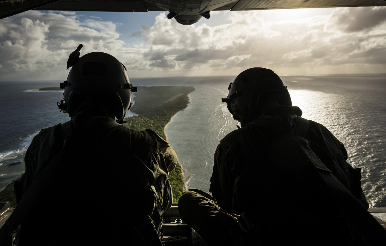 Photo wallpaper the ocean, island, Flight, pilots, military