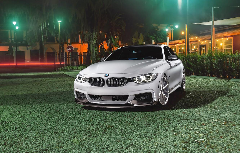 Photo wallpaper BMW, Car, Grass, Green, Front, White, Series, Sport, Vossen, Wheels, VFS1