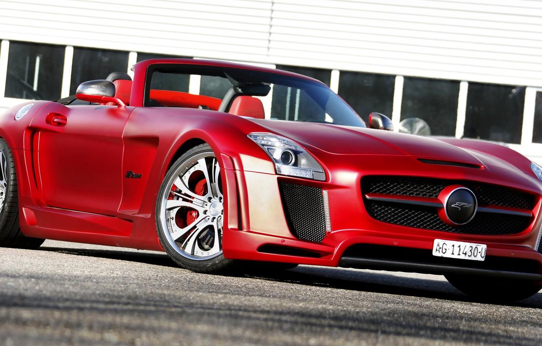Photo wallpaper Roadster, Mercedes-Benz, red, Mercedes, AMG, AMG, 2013, FAB Design, Jetstream, R197, SLS 63