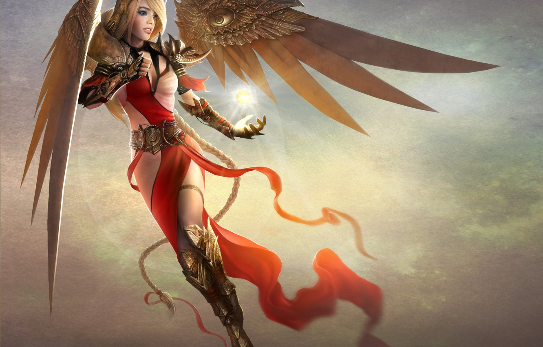 Photo wallpaper girl, magic, wings, art, braid, TamplierPainter