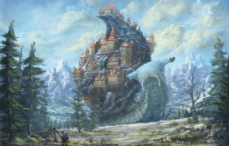 Photo wallpaper the sky, clouds, fiction, rocks, people, home, snail, fisherman, art, rod