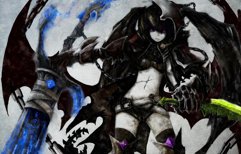 Photo wallpaper girl, weapons, wings, sword, anime, art, chain, black rock shooter, scar, insane black rock shooter, …