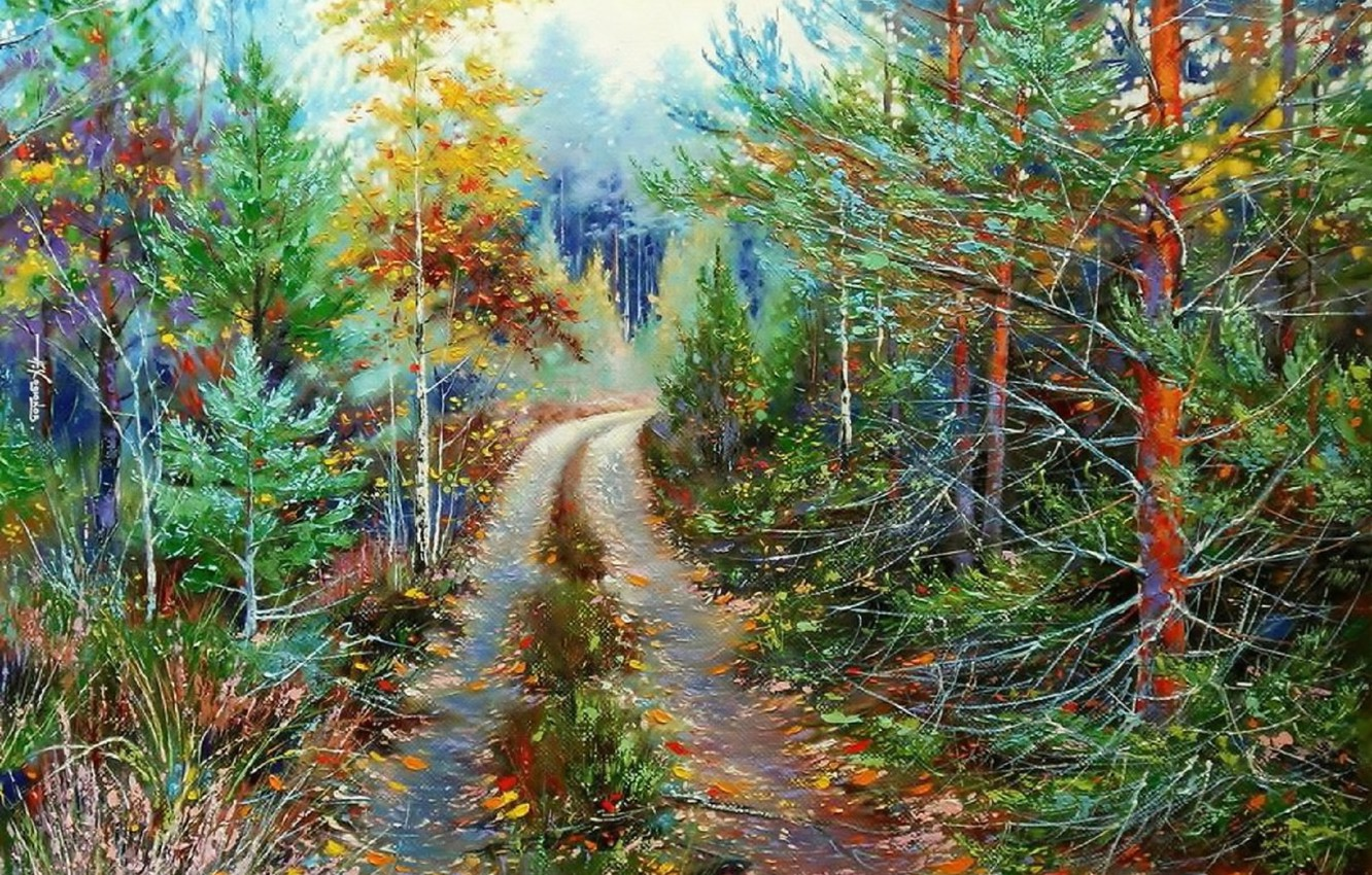 Photo wallpaper landscape, nature, oil, picture, painting, canvas, forest road, Khodukov