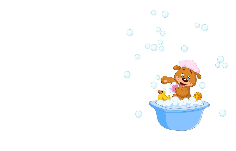 Photo wallpaper foam, bubbles, bathing, art, bear, children's