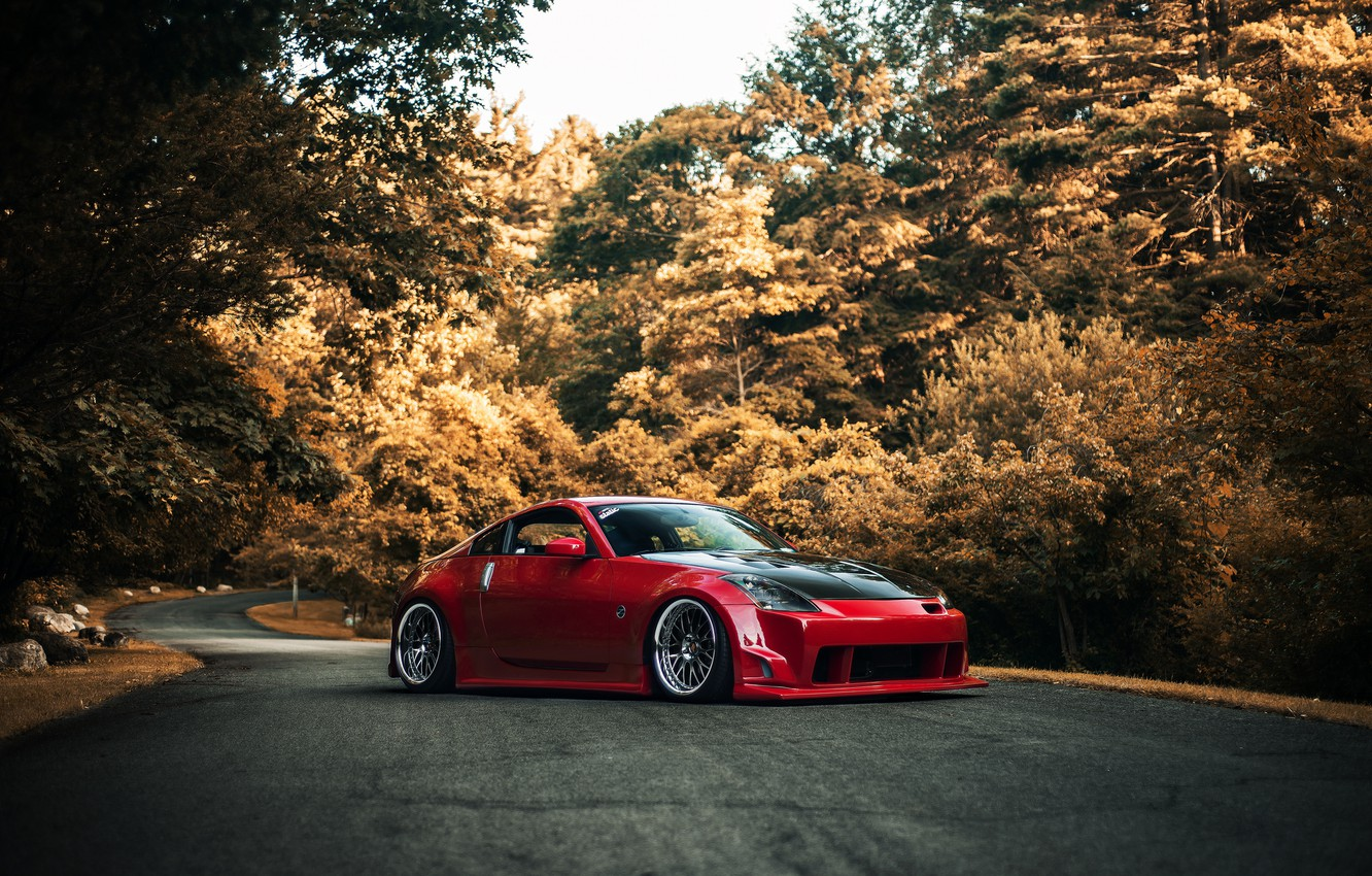 Photo wallpaper road, autumn, red, red, Nissan, Nissan, 350Z, stance, kit