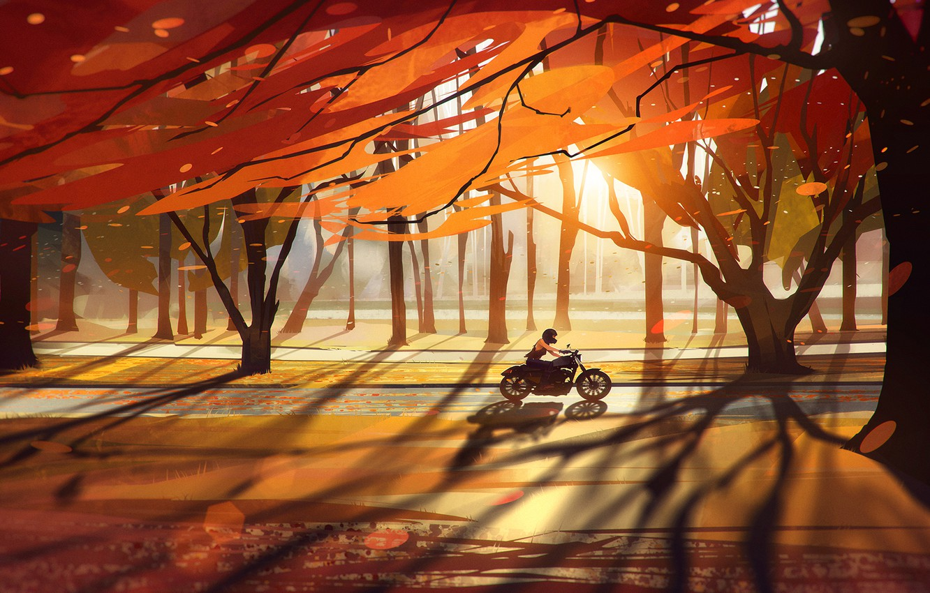 Photo wallpaper road, autumn, forest, leaves, girl, trees, motorcycle, bike