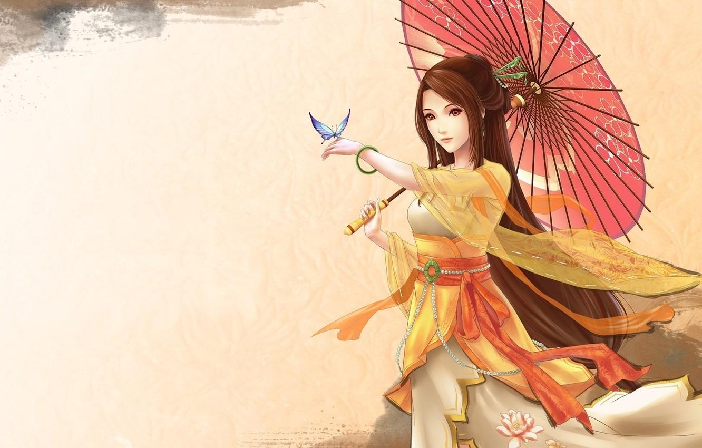 Photo wallpaper girl, umbrella, butterfly, anime, art, Lotus