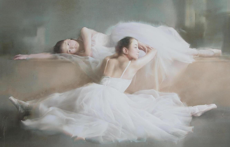 Photo wallpaper girls, stay, picture, art, watercolor, twine, Asian girls, ballet, dresses, Pointe shoes, ballerina, Liu Yi