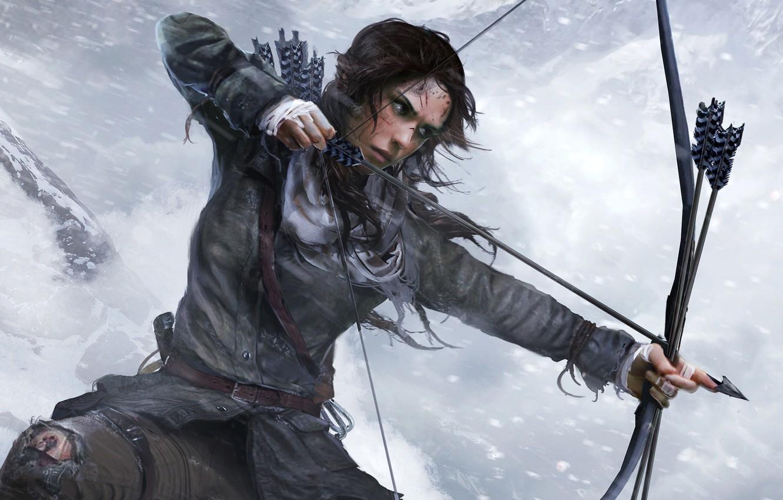 Photo wallpaper Winter, Girl, Snow, Bow, Lara Croft, Square Enix, Lara Croft, Arrow, Rise of the: Tomb …