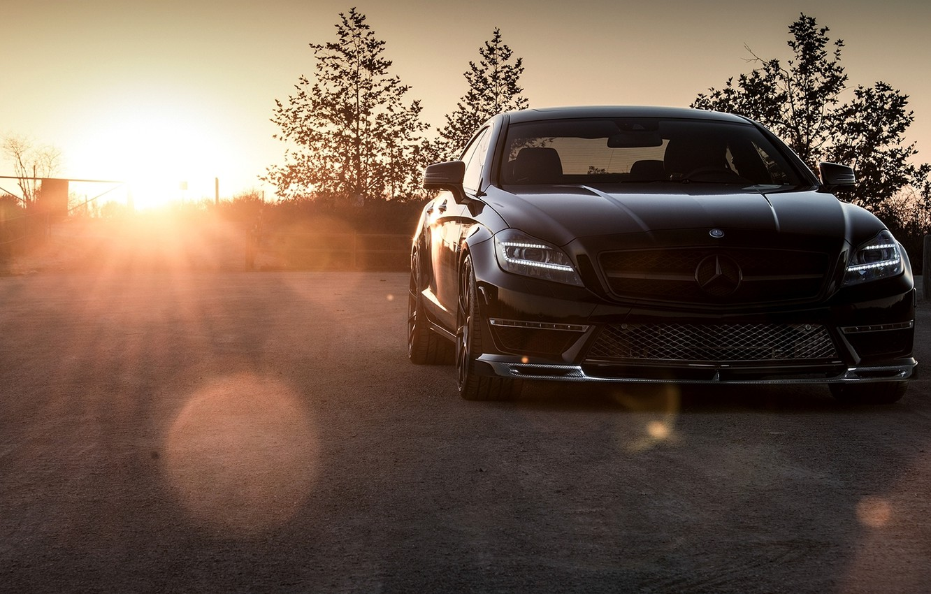 Photo wallpaper black, Mercedes-Benz, sedan, Mercedes, AMG, Black, Sedan, C218, CLS 63, 2015, CLK-Class
