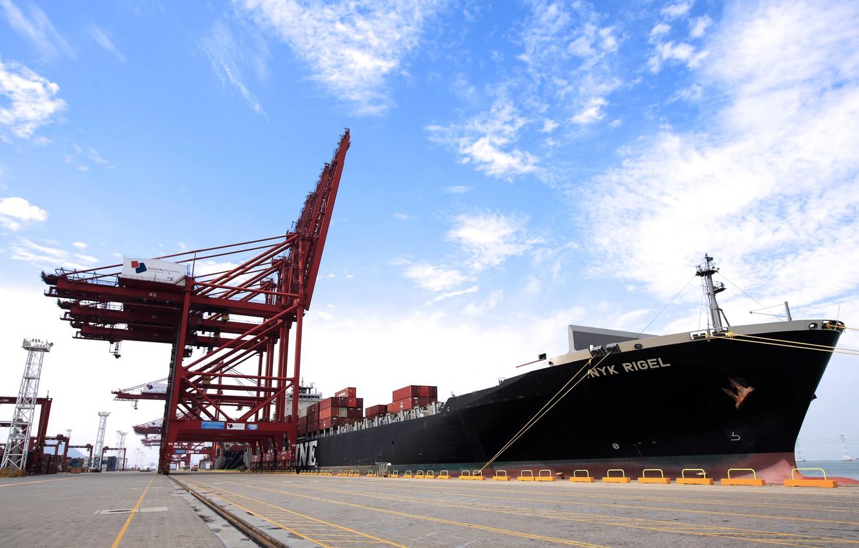 Photo wallpaper The sky, Port, Pier, Board, Day, The ship, A container ship, Cranes, Tank, Terminal, NYK …