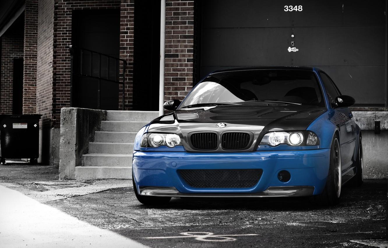 Photo wallpaper blue, bmw, BMW, ladder, blue, e46, carbon fiber hood