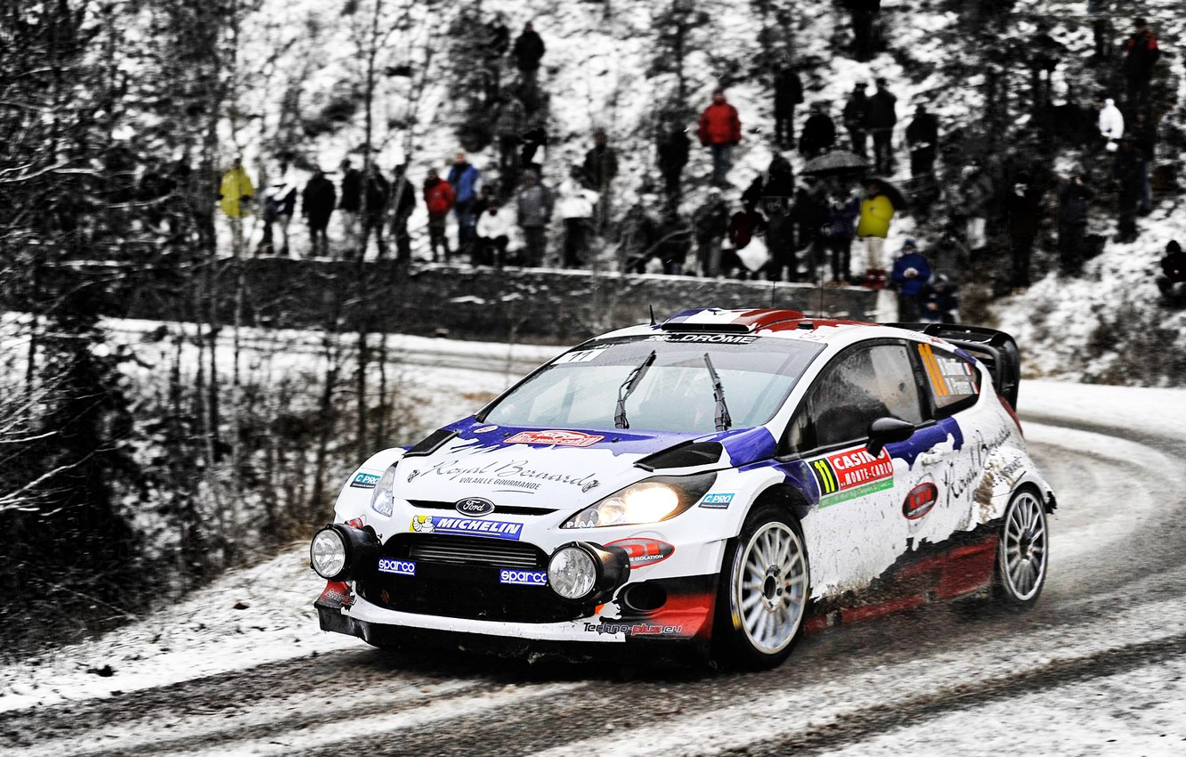 Photo wallpaper Ford, Winter, Auto, White, Snow, Sport, People, Race, Lights, WRC, Rally, Rally, Fiesta