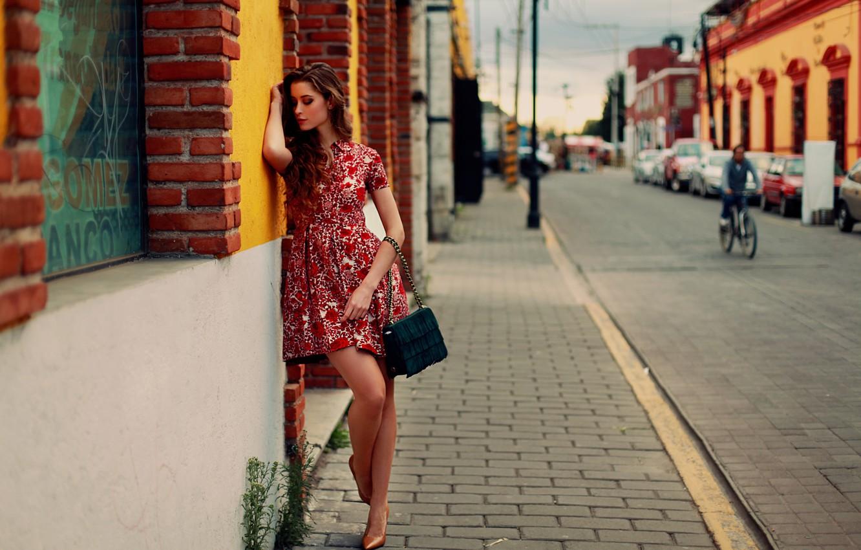 Photo wallpaper girl, the city, street, dress