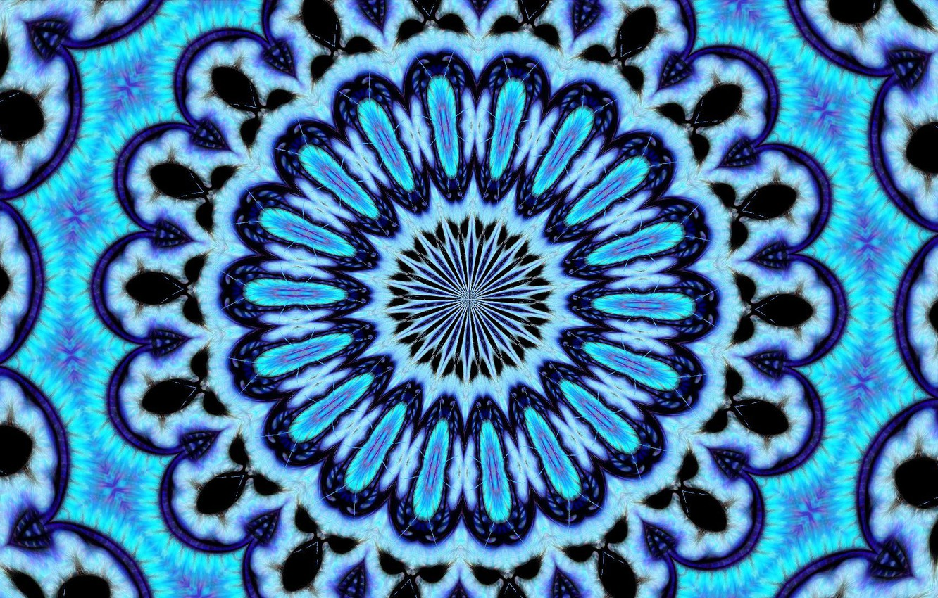 Photo wallpaper circles, blue, curves, psychedelic
