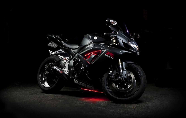 Photo wallpaper black, neon, motorcycle, Suzuki, black, bike, Suzuki, GSX-R 750