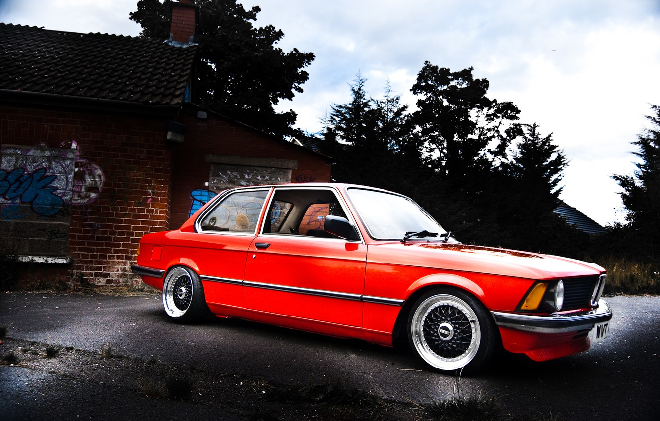 Photo wallpaper BMW, red, E21