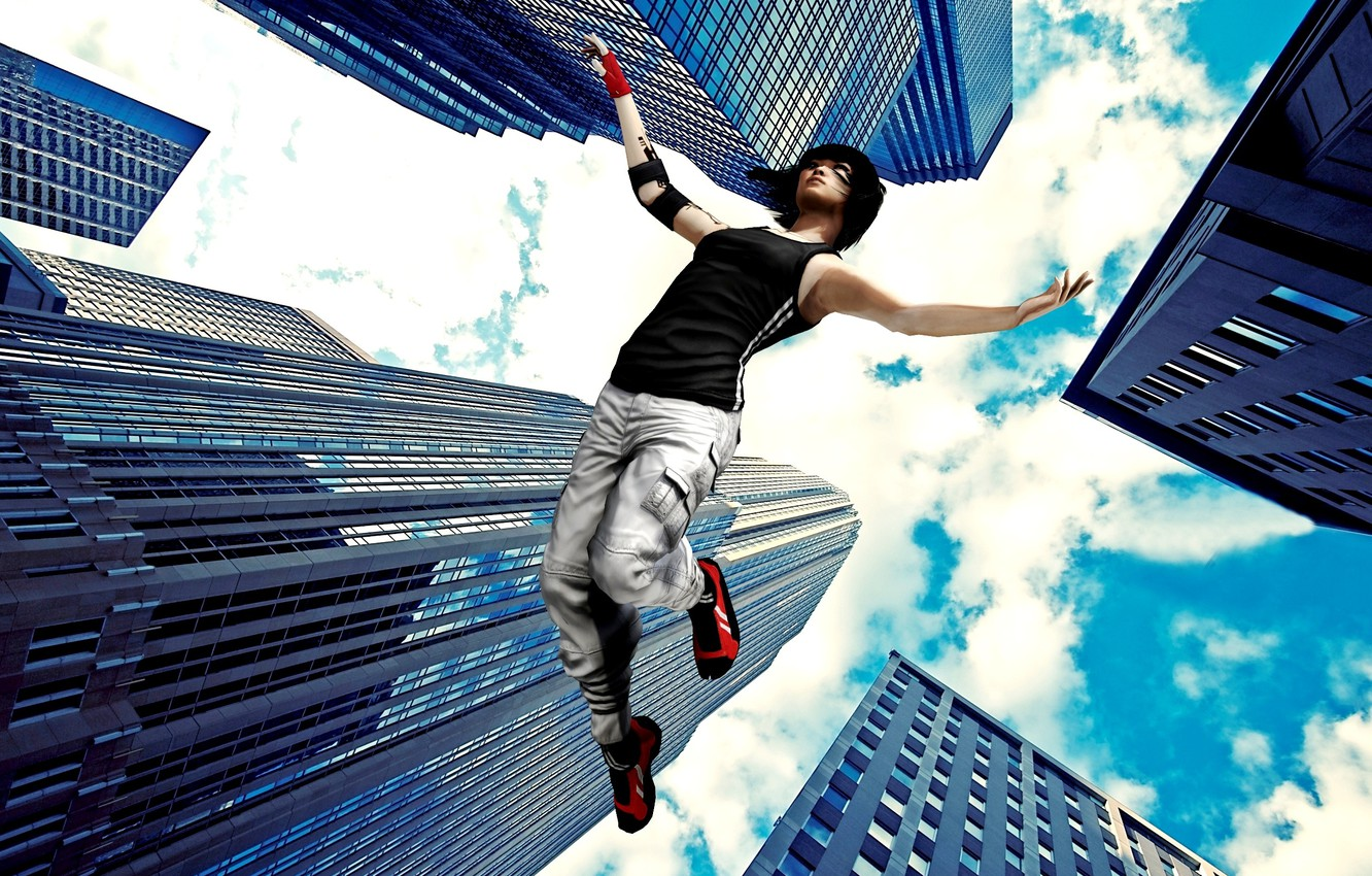 Photo wallpaper the sky, skyscraper, faith, mirror's edge, falls.