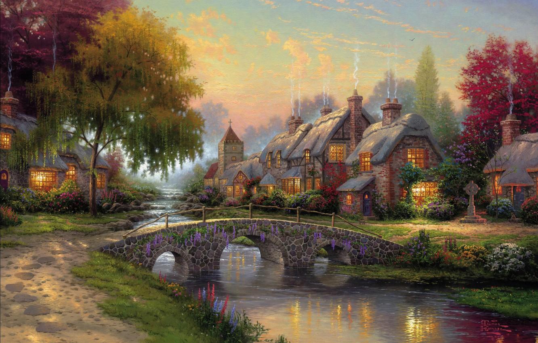 Photo wallpaper summer, bridge, river, picture, summer, painting, bridge, art, Thomas Kinkade, painting, picture, Thomas Kinkade, cottage, …