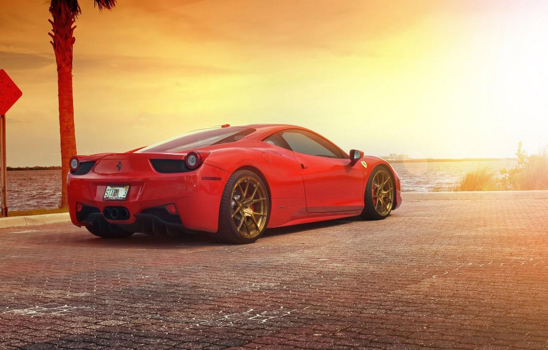 Photo wallpaper Ferrari, Red, 458, Sun, Sunset, Italia, Sea, Supercar, Rear
