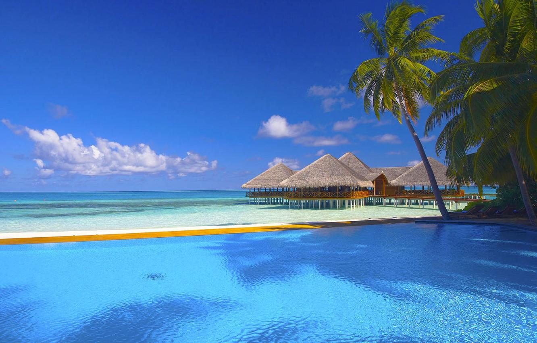Photo wallpaper sand, sea, beach, the sky, clouds, Palma, palm trees, the ocean, pool, houses, sunbeds
