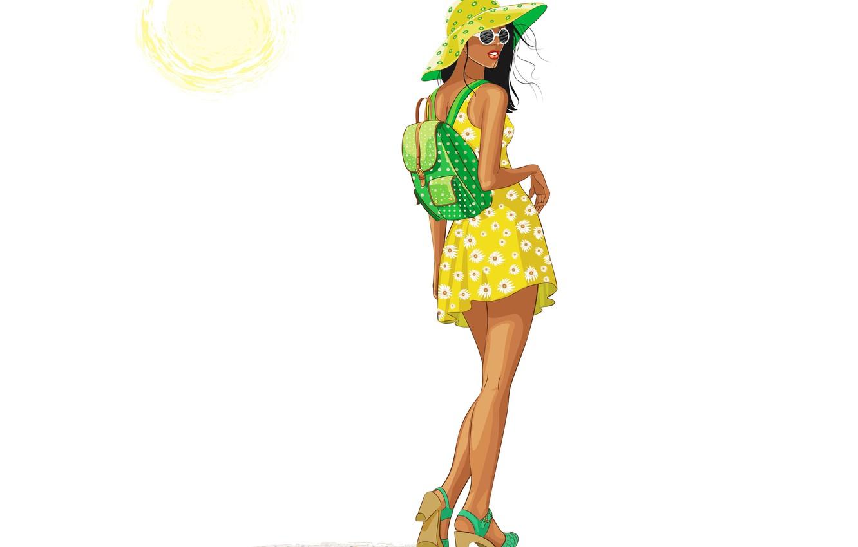Photo wallpaper summer, girl, the sun, style, back, vector, hat, dress, glasses, backpack