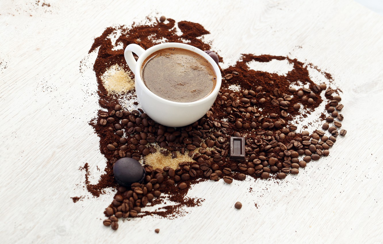 Photo wallpaper heart, coffee, chocolate, grain, cookies, Cup, sugar, white