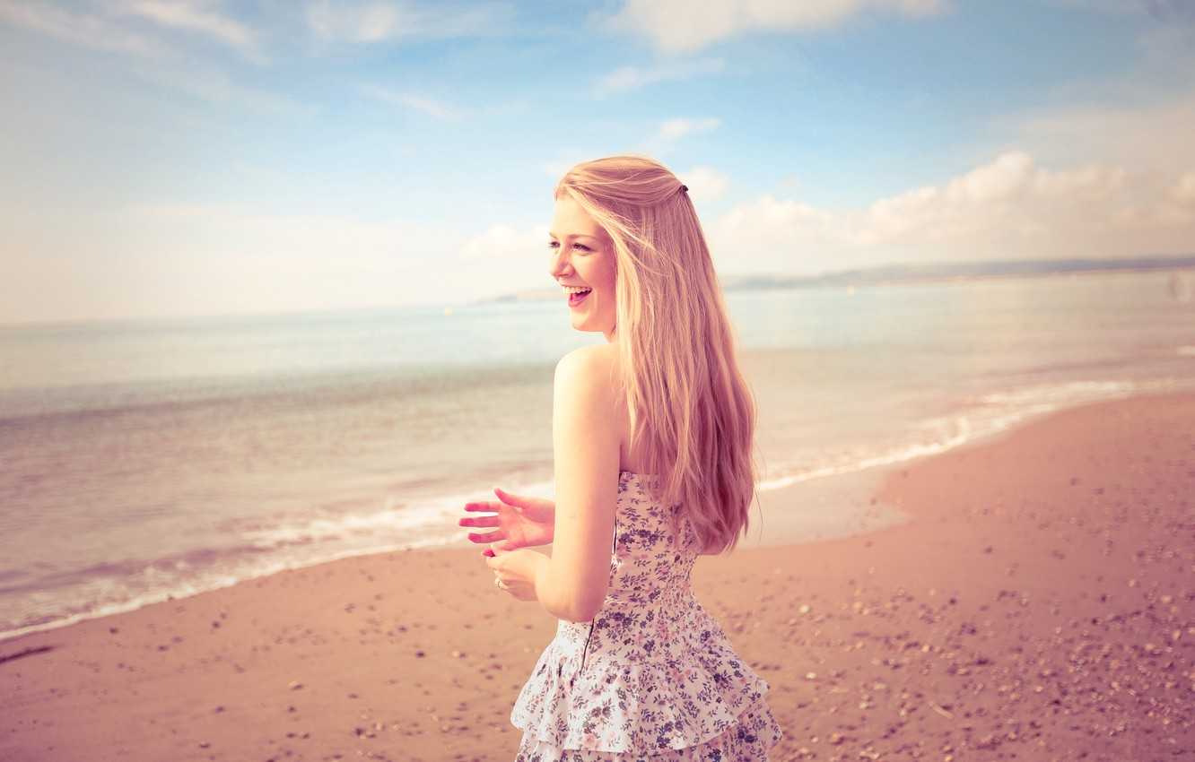 Photo wallpaper sand, beach, summer, girl, landscape, smile, mood, shore, hair, laughter, hands, girl
