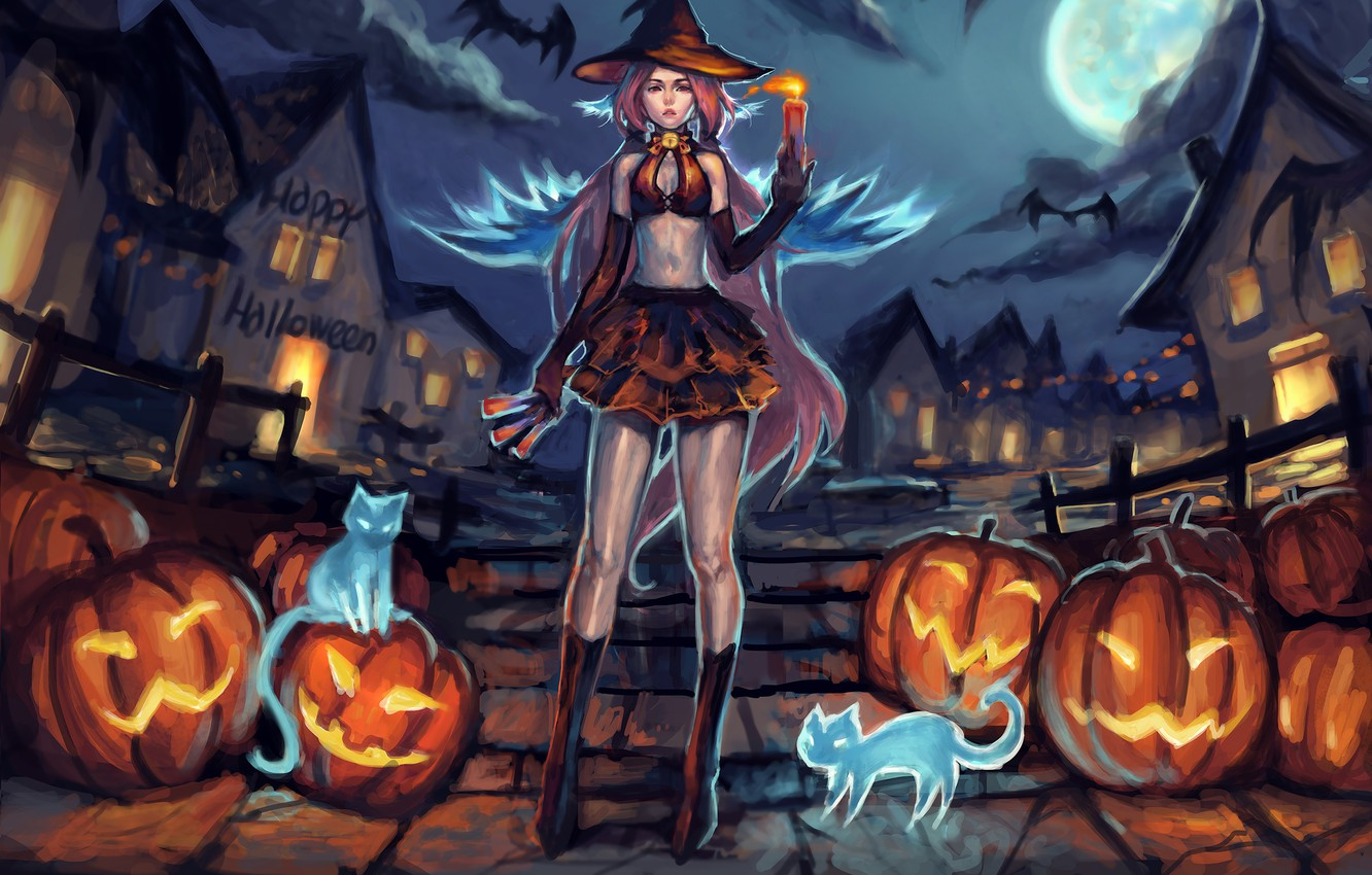 Photo wallpaper girl, cats, pumpkin, halloween, helluin, Velma