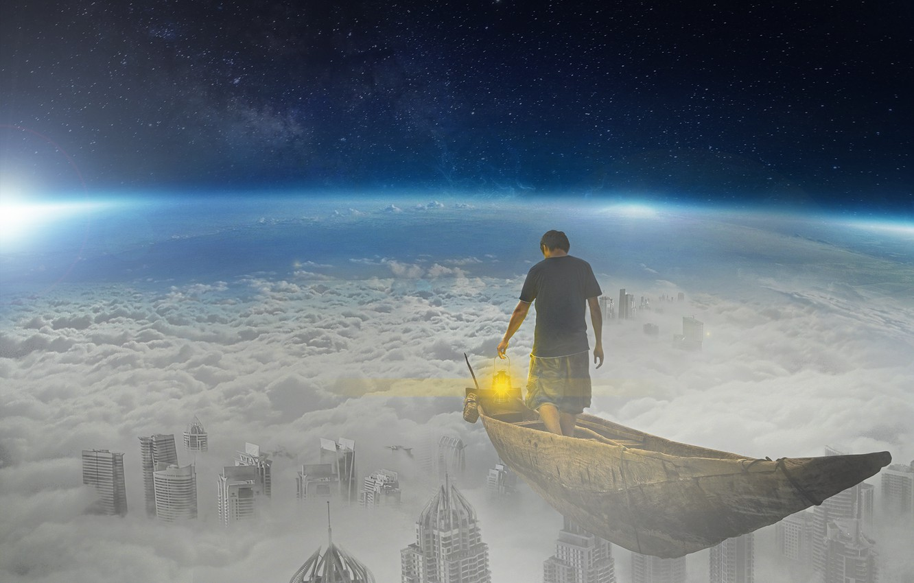 Photo wallpaper the sky, space, clouds, fiction, the world, boat, people, lantern, fantasy, Shine
