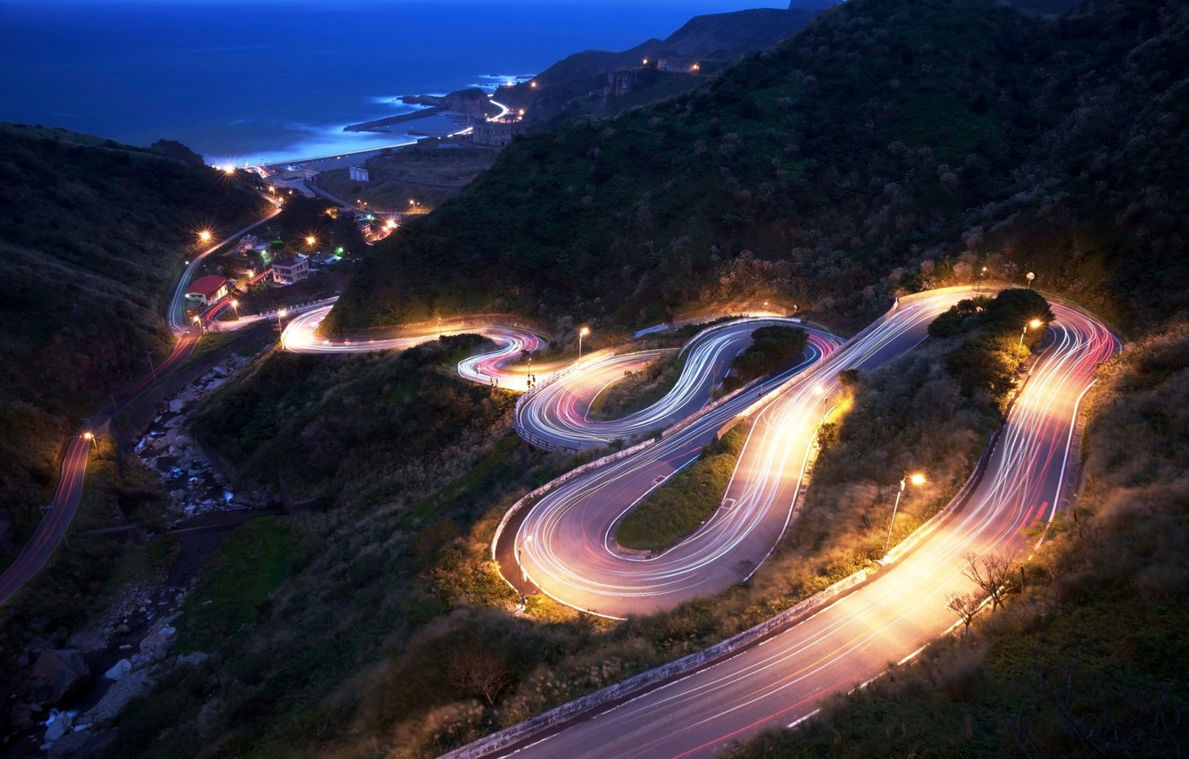 Photo wallpaper road, sea, mountains, lights, the descent, the evening, slope