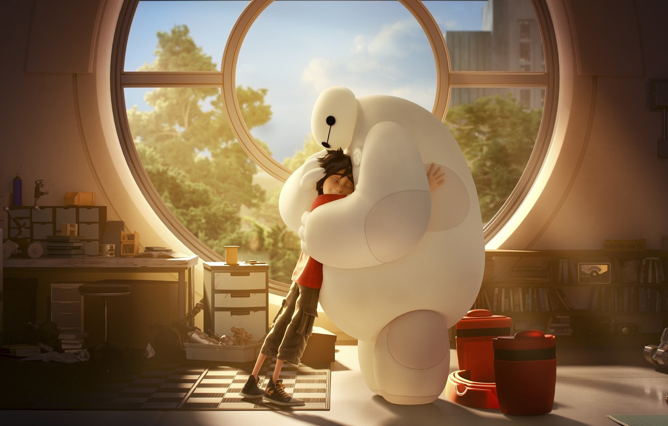 Wallpaper Robot Boy Mood Cartoon Hug Movie Film Feeling Laboratory Big Hero 6 Baymax Hiro Hamada Affection Images For Desktop Section Filmy Download