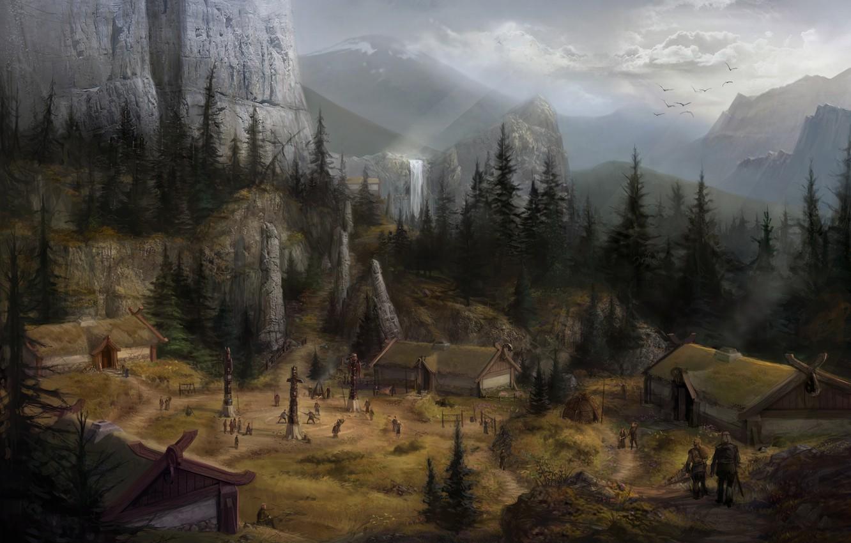 Photo wallpaper landscape, mountains, fantasy, waterfall, home, village, dragon age, concept art