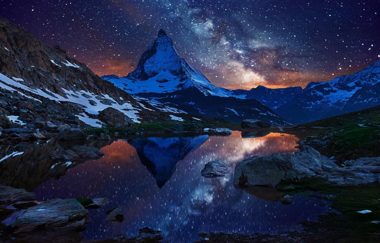 Photo wallpaper the sky, stars, snow, night, lake, mountain, Switzerland, Alps, top, the milky way, Switzerland, Matterhorn, …