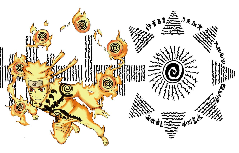 Photo wallpaper naruto, art, Uzumaki naruto, nine tails chakra mode, Hakke no Fūin Shiki