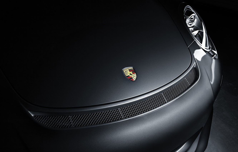 Photo wallpaper shadow, 911, Porsche, the hood, bumper, GT3, label, 991