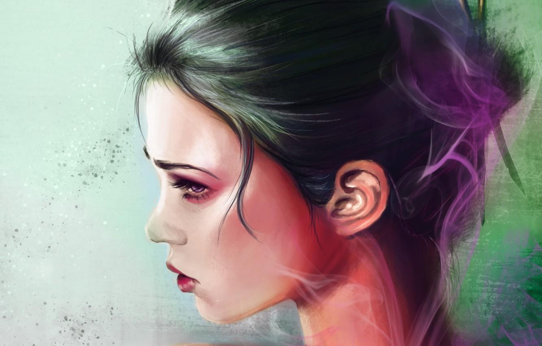 Photo wallpaper face, background, hair, smoke, makeup, art, geisha, profile, painting, shoulders
