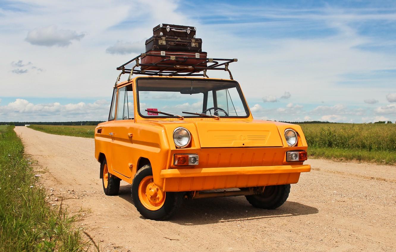 Photo wallpaper road, car, suitcases, double, microcar, С3Д, SMZ, four-wheel
