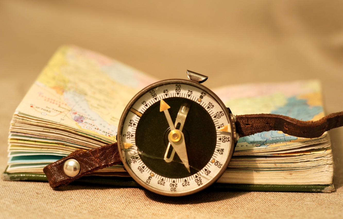 Photo wallpaper style, background, Wallpaper, leather, book, compass, page, vintage, wallpapers, pocket Atlas
