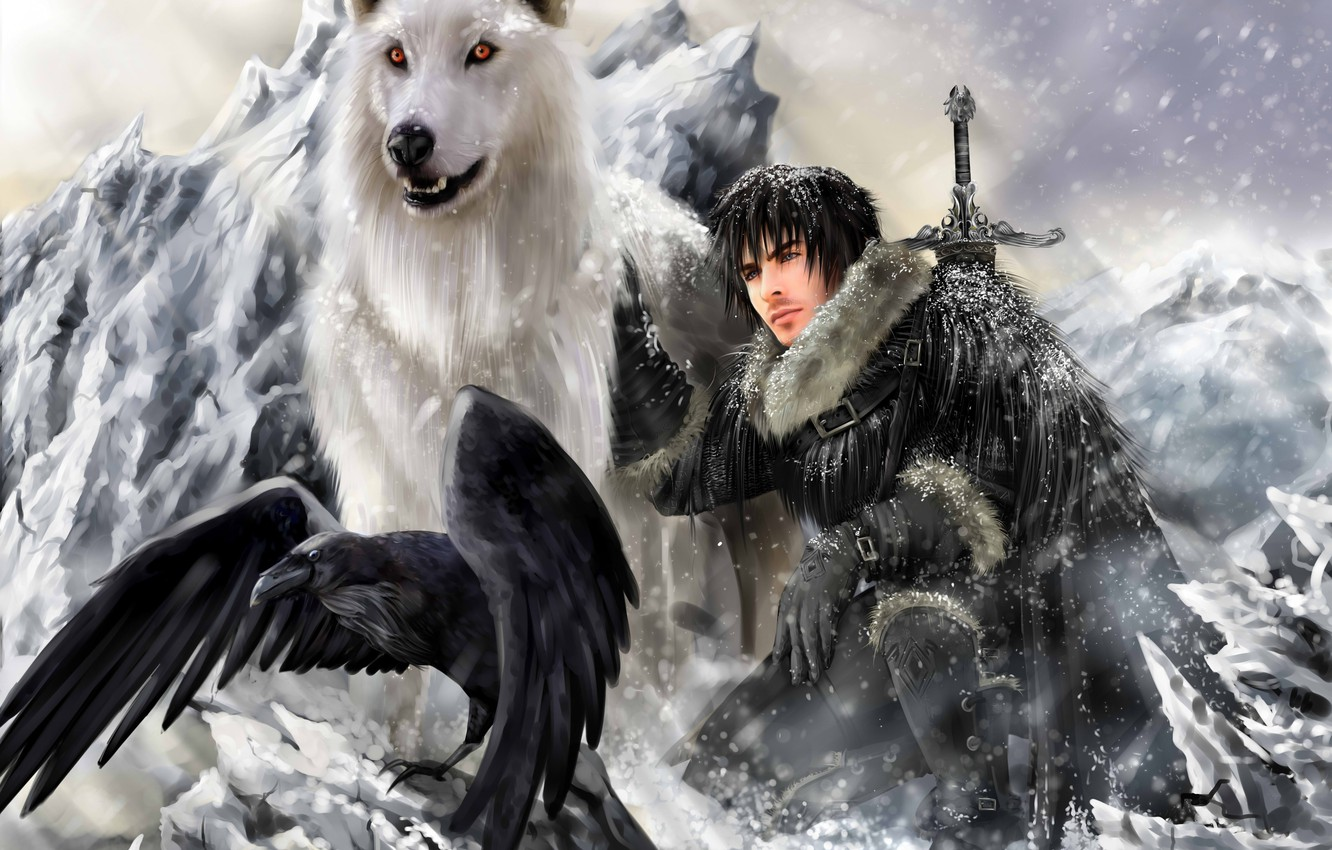 Photo wallpaper Ghost, the direwolf, a direwolf, Game Of Thrones, A song of Ice and Fire, Game …