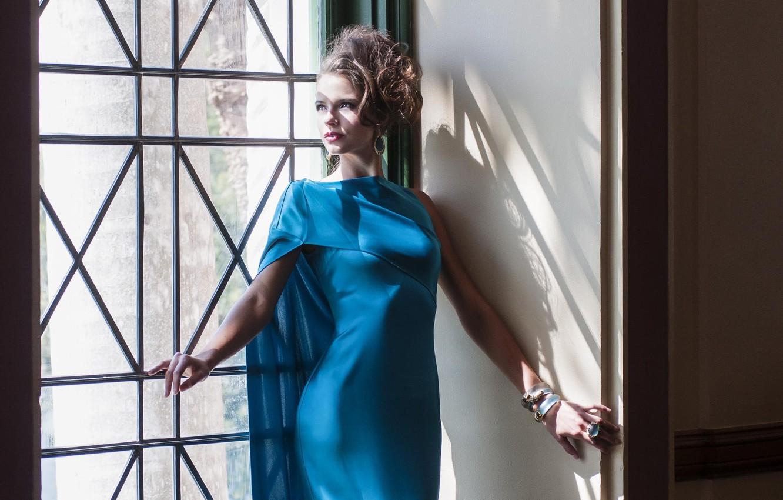 Photo wallpaper girl, decoration, window, hairstyle, blue dress