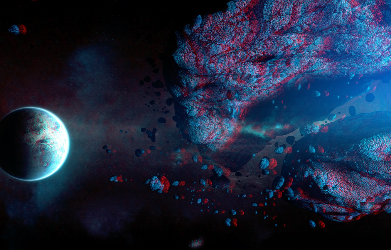 Photo wallpaper Space, red/cyan, full HD, Too Close - Stereo 3D