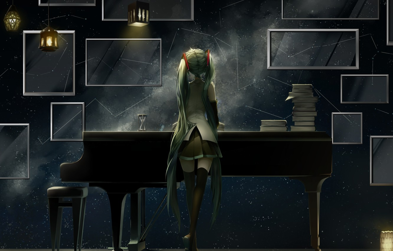 Photo wallpaper girl, anime, piano, art, vocaloid, hatsune miku, lanterns, saihate
