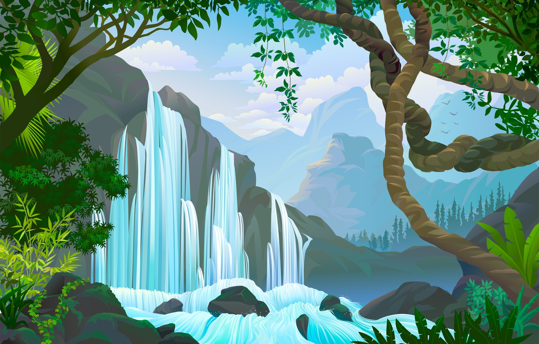 Photo wallpaper water, trees, waterfall