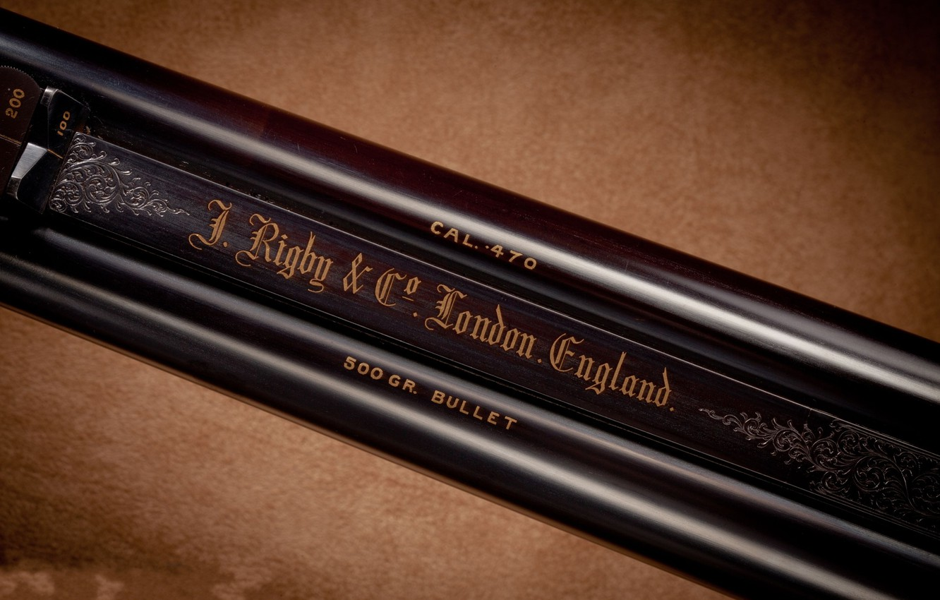 Photo wallpaper metal, letters, trunks, font, Rigby, John, double, 470, rifle