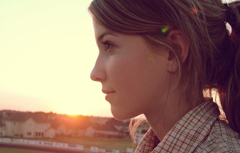 Photo wallpaper look, sunset, Profile