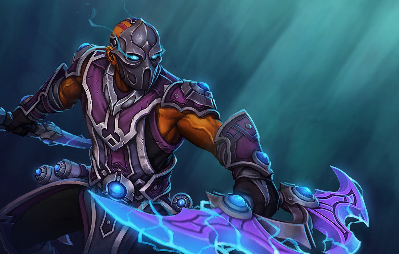 Photo wallpaper weapons, armor, mask, art, guy, stand, Dota 2, Anti-Mage