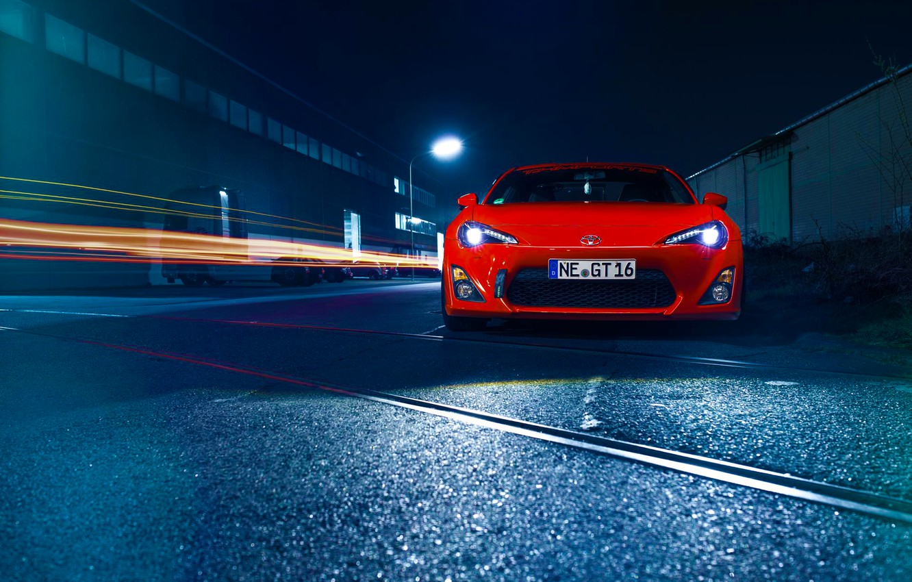 Photo wallpaper Orange, Toyota, Car, Front, Sport, GT86, Wheels, Hood, Bumper