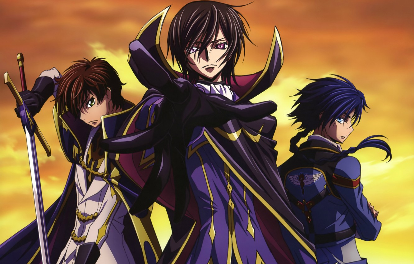 Photo wallpaper sword, form, cloak, gesture, code geass, military uniform, code geass, three guys, boukoku no akito, …